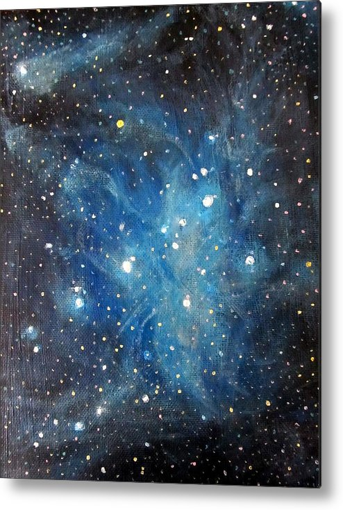 Space Metal Print featuring the painting Messier 45 Pleiades Constellation by Alizey Khan