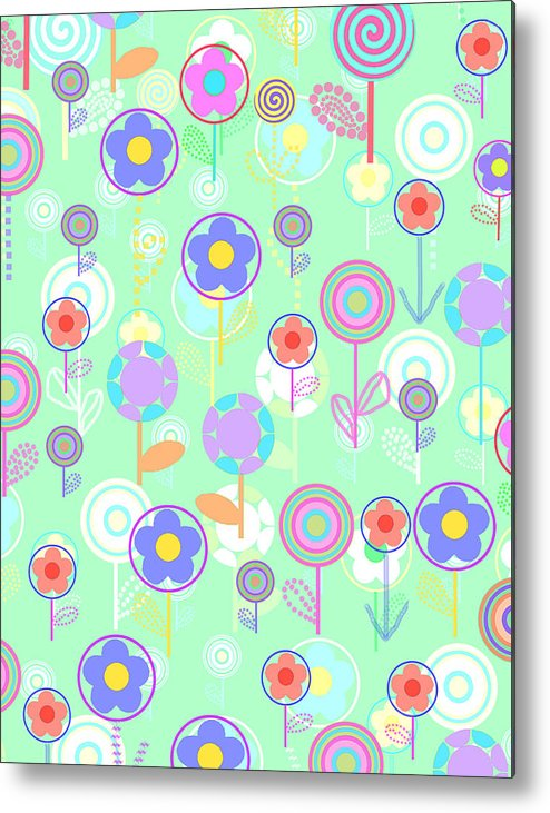 Louisa Metal Print featuring the digital art Overlayer Flowers by Louisa Knight