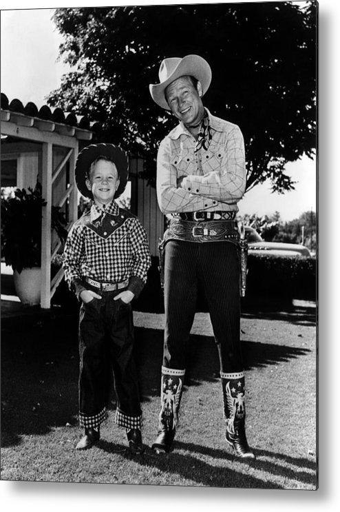 1950s Metal Print featuring the photograph Roy Dusty Rogers Jr., And His Father by Everett