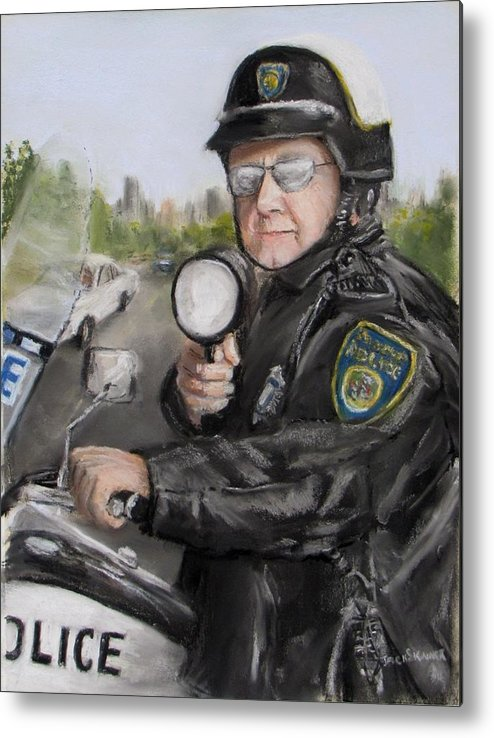 Police Metal Print featuring the painting Gotcha by Jack Skinner