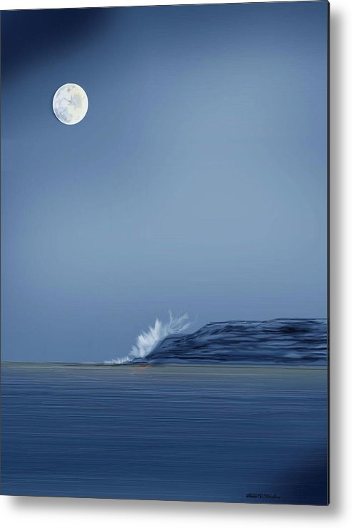 Seascape Metal Print featuring the painting Looking At The Moon by Anne Norskog