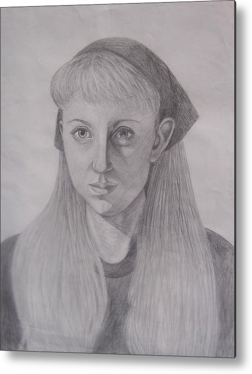 Artist Metal Print featuring the drawing Pencil Self Portrait by Emily Young