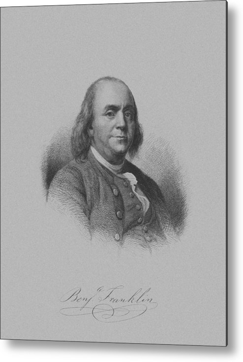 Benjamin Franklin Metal Print featuring the mixed media Benjamin Franklin by War Is Hell Store