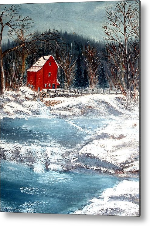 Landscape Mill Old Streem Creek Metal Print featuring the painting Old Mill by Kenneth LePoidevin