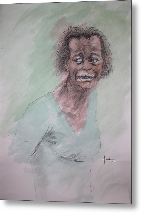 Portrait Metal Print featuring the drawing Untitled by Victor Amor