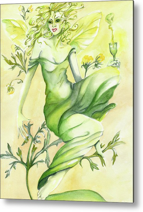 Fairy Metal Print featuring the painting Absinthe-the Green Fairy by Nadine Dennis