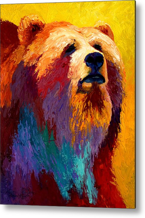 Western Metal Print featuring the painting Abstract Grizz by Marion Rose