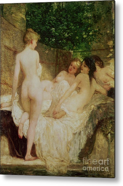 Bal54075 Metal Print featuring the painting After The Bath by Karoly Lotz