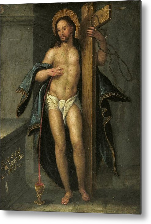 Religion Metal Print featuring the painting Alegoria De La Redencion De Cristo by Unknown