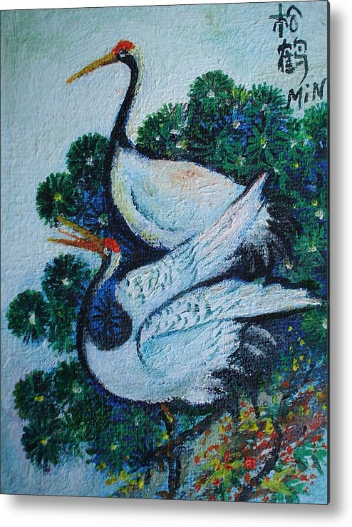 Asian Birds Metal Print featuring the painting Asian Cranes 1 by Min Wang
