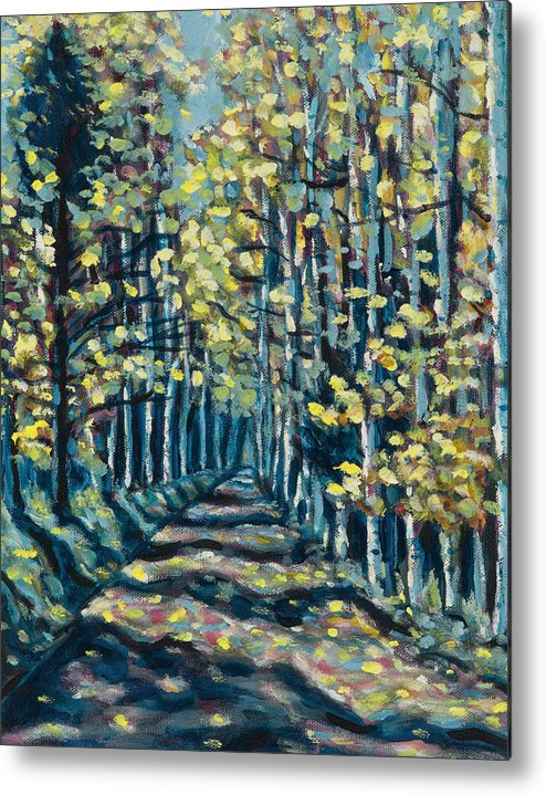 Landscape Metal Print featuring the painting Aspen Path by Steve Lawton