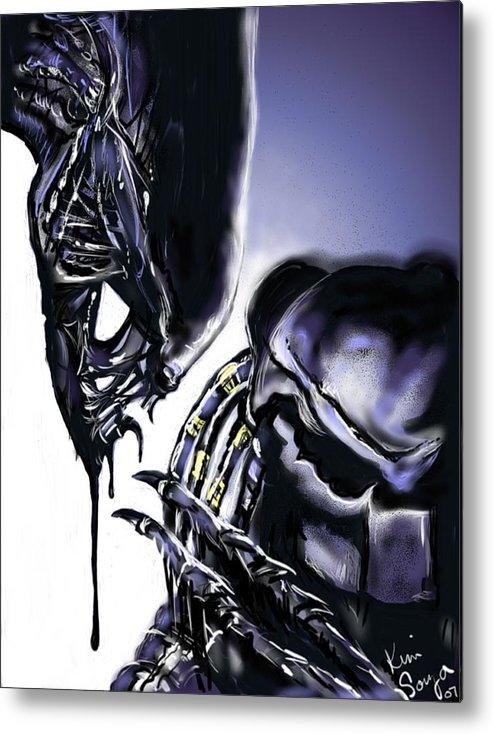 Alien Metal Print featuring the digital art AVP by Kim Souza