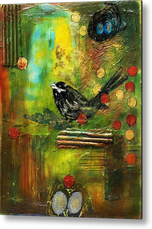 Mixed Media Painting Metal Print featuring the mixed media Black Bird Come Home by Ishita Bandyo