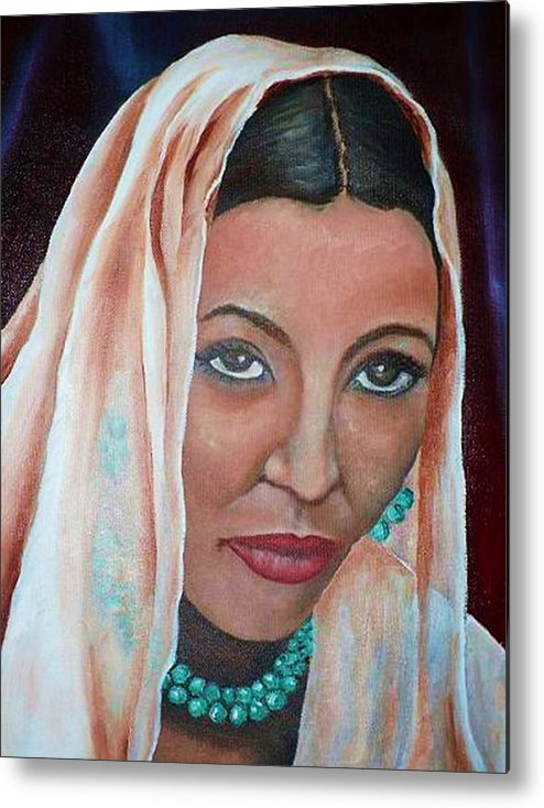 Portrait Of Bride Metal Print featuring the painting Brideprice by Alima Newton