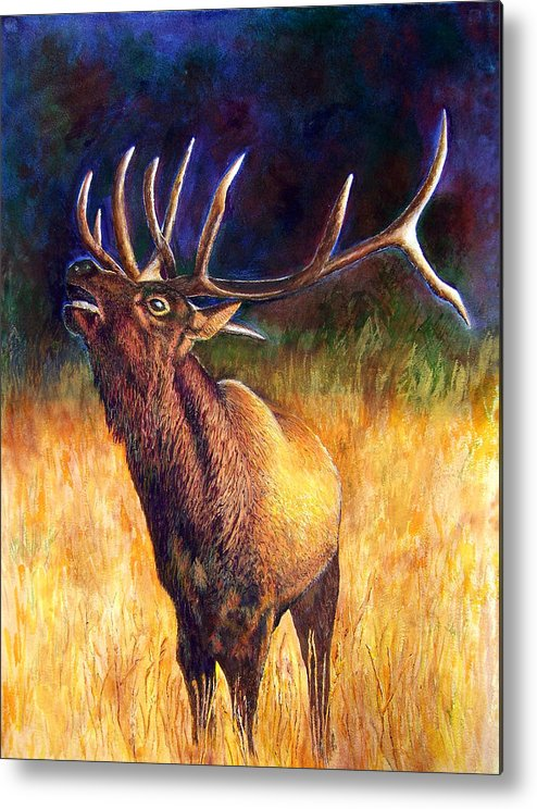 Elk Metal Print featuring the painting Call Of The Wild Elk by JoLyn Holladay