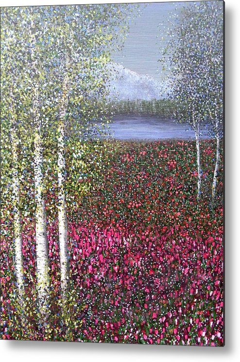 Quaking Aspen Trees Landscape Birch Metal Print featuring the painting Calm Yet Quaking by Sally Van Driest