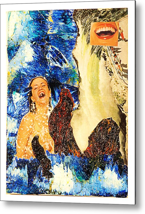 Collage Metal Print featuring the painting Dream Of The Fisherman's Wife by Howard Goldberg