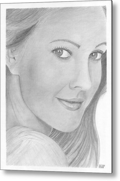 Celebrity Drew Barrymore Metal Print featuring the drawing Drew Barrymore by David Seter