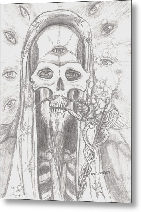 Skeleton.eyes Metal Print featuring the drawing Father Health And Wisdom by Americo Salazar