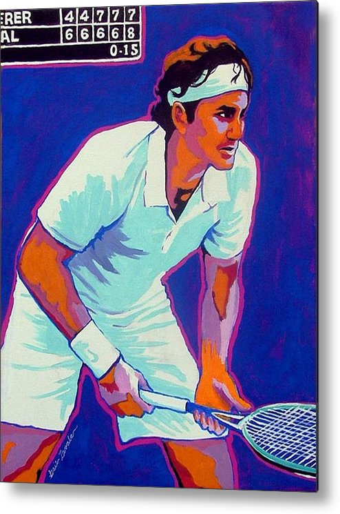 Tennis Metal Print featuring the painting Federer by Gail Zavala