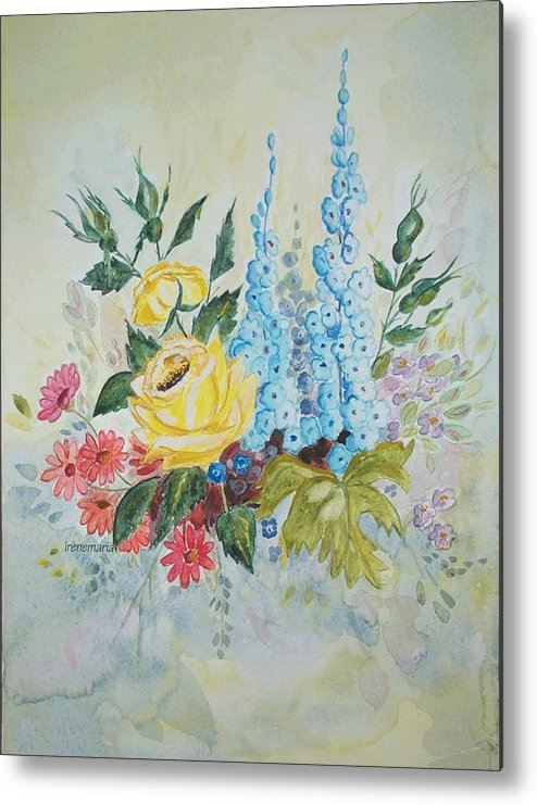 Roses Flowers Metal Print featuring the painting Flower Bouquet by Irenemaria Amoroso