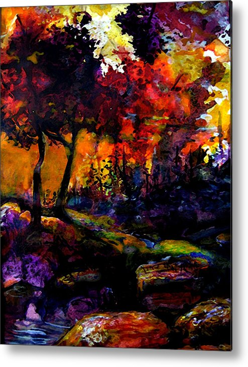 Vivid Orange And Purple Metal Print featuring the painting Forest Flames by Mary Sonya Conti