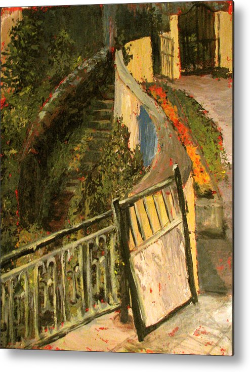 Gate Metal Print featuring the painting Gated Community by Art Nomad Sandra Hansen