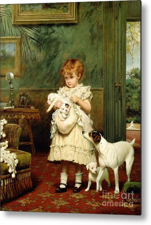 Girl With Dogs Metal Print featuring the painting Girl With Dogs by Charles Burton Barber