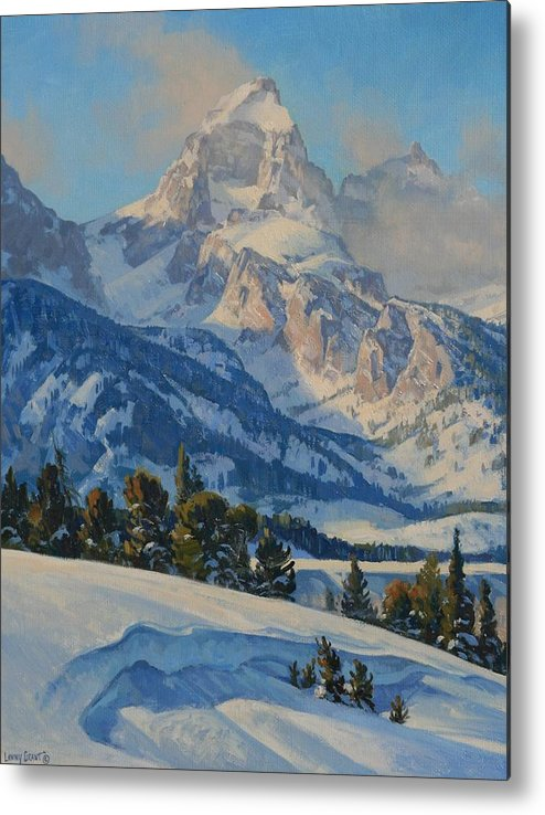 Landscape Metal Print featuring the painting Grand Teton by Lanny Grant