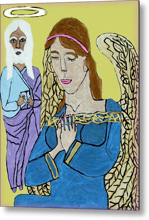 Holy Jesus Religion Christmas Season Metal Print featuring the painting Holy Jesus Praise The Lord by Betty Roberts