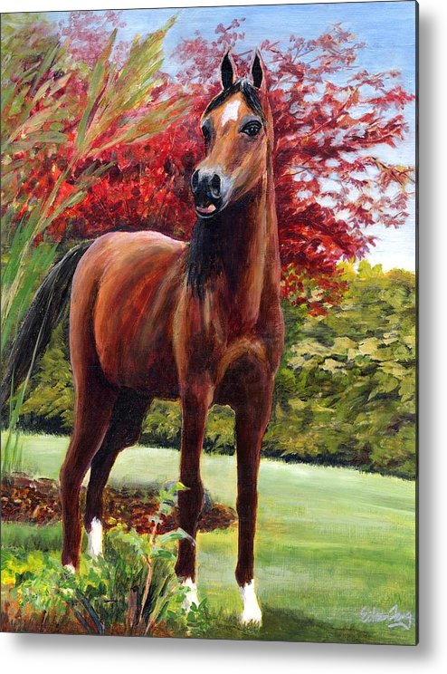 Horse Metal Print featuring the painting Horse Portrait by Eileen Fong