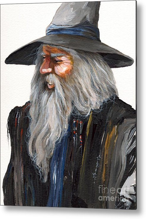Fantasy Art Metal Print featuring the painting Impressionist Wizard by J W Baker