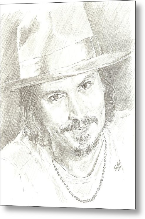 Johnny Depp Metal Print featuring the drawing Johnny Depp by Carla Stroud