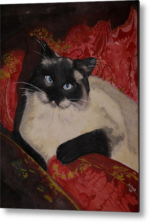 Cat Metal Print featuring the painting Kato by Joshua Armstrong