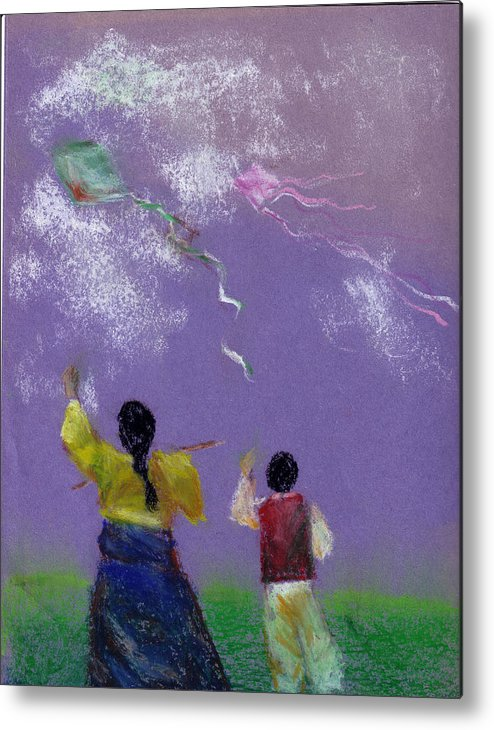 Flying Kite In A Sunny Day-oil Pastel Metal Print featuring the drawing Kite Flying by Mui-Joo Wee