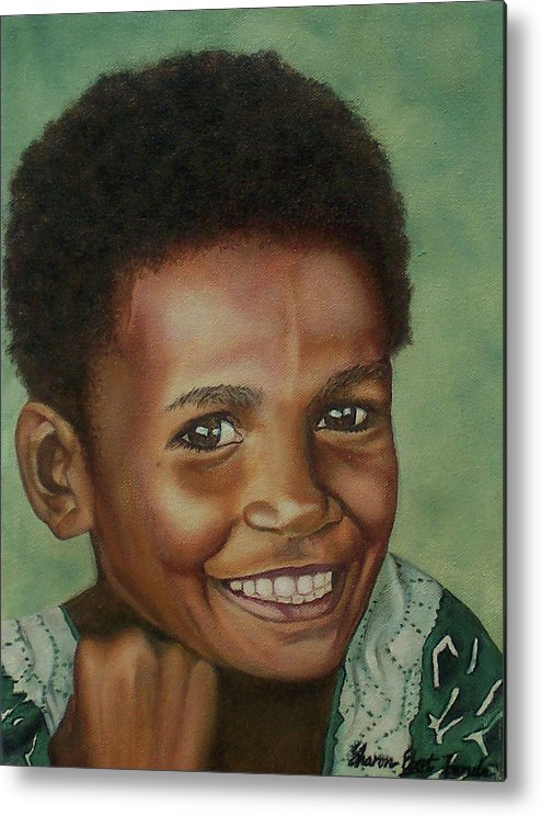 Portrait Metal Print featuring the painting Little Alis by Sharon Ebert
