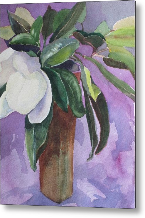 Magnolia Metal Print featuring the painting Magnolia by Elizabeth Carr