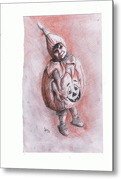 Portrait Metal Print featuring the drawing Mi Clabacita by Victor Amor