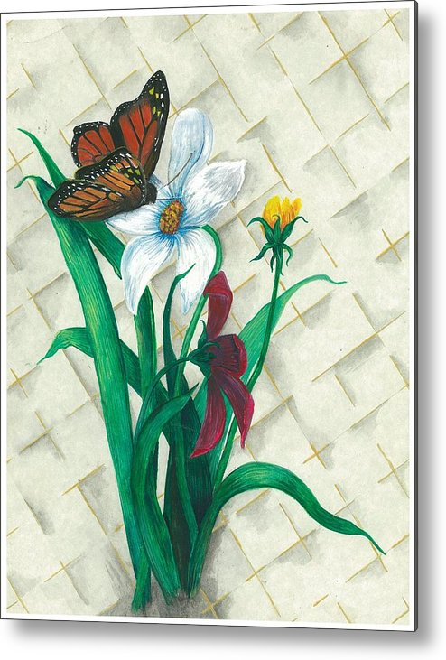 Flowers Metal Print featuring the painting Monarch And Flowers by Sally Balfany