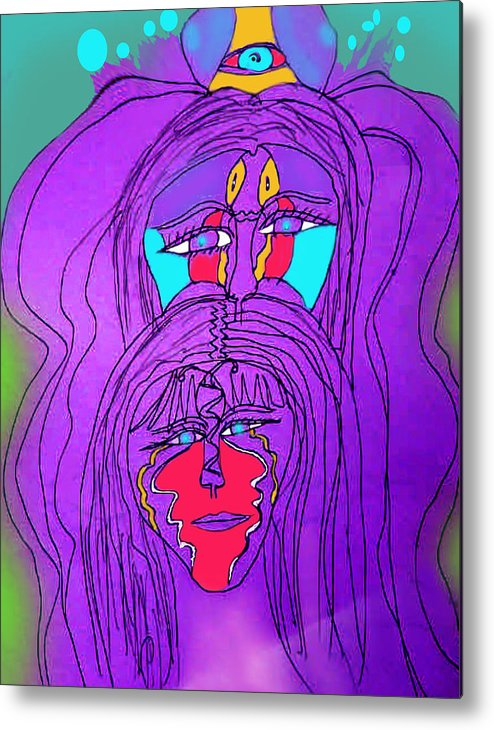Metal Print featuring the drawing Mystics by Betty Roberts