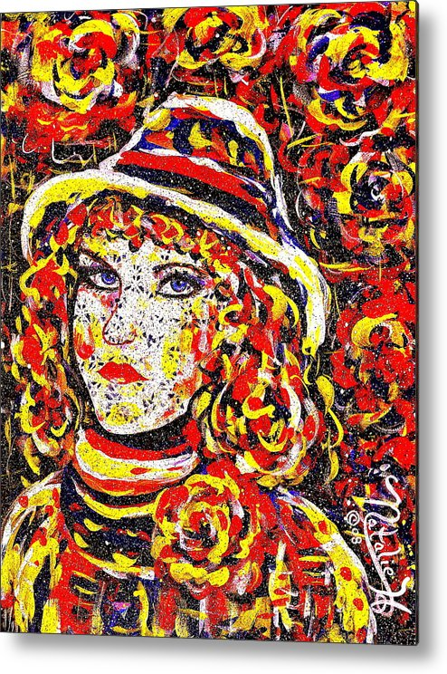 Woman Metal Print featuring the painting Nat With The Hat by Natalie Holland