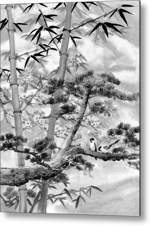 Black And White Metal Print featuring the painting Nature by Eileen Fong