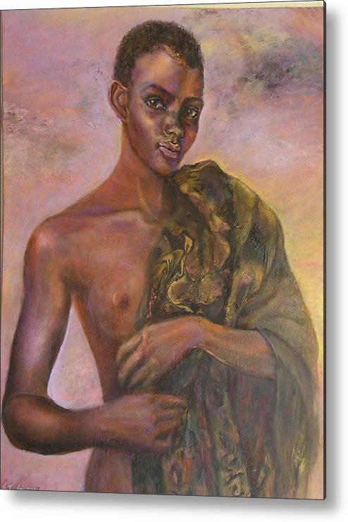 Figurative Metal Print featuring the painting Nude 5 by Sylva Zalmanson