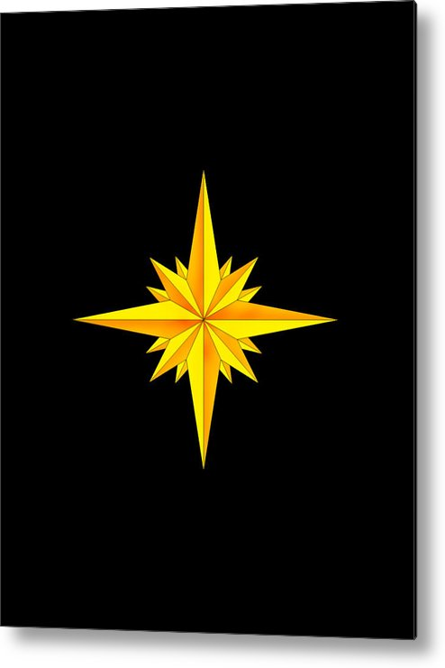 Compass Metal Print featuring the painting One Brite And Shining Star by Anne Norskog