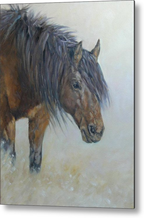 Horse Wild Desert Portrait Animal Mustang Metal Print featuring the painting Patriarch Of The Plains by Ruth Andre