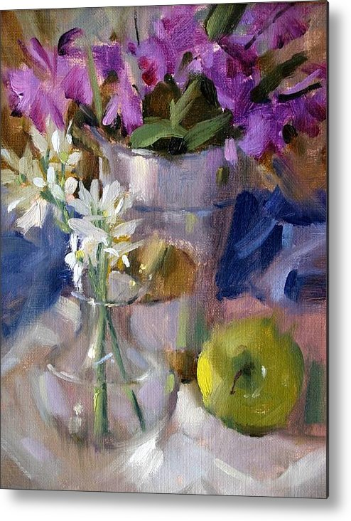 Still Life Floral Metal Print featuring the painting Peggy's Orchids by Judy Crowe