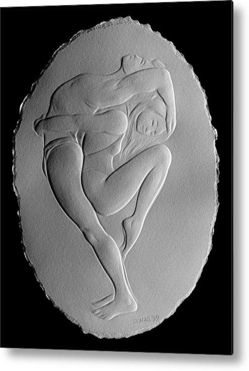 Dancers Metal Print featuring the relief Pilobilus Dancers by Suhas Tavkar