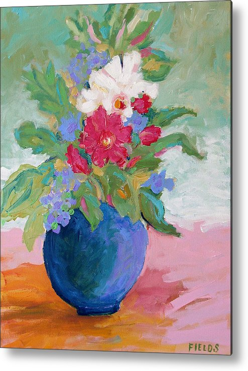 Flowers Metal Print featuring the painting Pink Tablecloth by Karen Fields