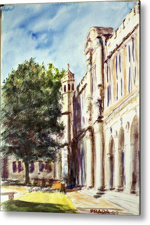 Watercolor Metal Print featuring the painting Quad South Facade by Horacio Prada