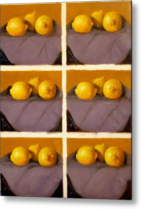 Realism Metal Print featuring the painting Redundant Lemons by Donelli DiMaria